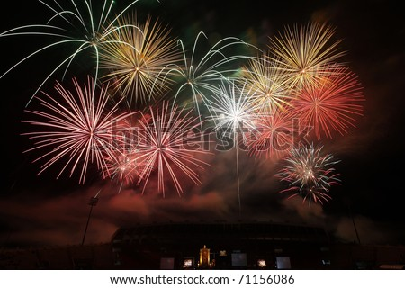 A collage of exploding fireworks in holiday festival , Chiangmai , Thailand - stock photo