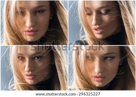 A collage of four photos. Female portrait, close up, studio photo - stock photo