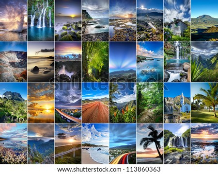 A collage of landscapes from Reunion Island. - stock photo