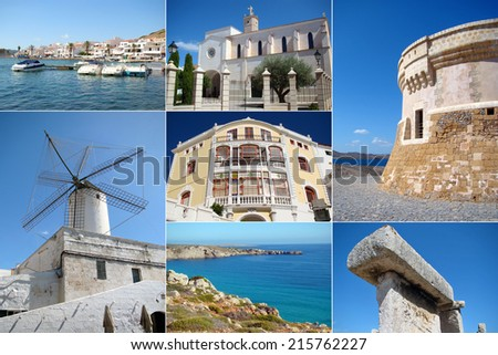 A collage of Menorca island, Balearic Islands, Spain - stock photo