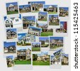 A collage of multiple suburban homes scrambled pictures - stock photo