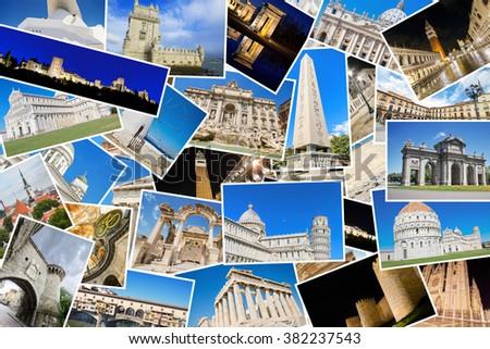 A collage of my best travel photos of famous Landmarks from European cities, included cities: Roma, Tallin, Ephesus, Istambul, Pisa, Avila, Madrid, Florence, Athens, Venice,Leon, Granada,Lisbon, etc.  - stock photo
