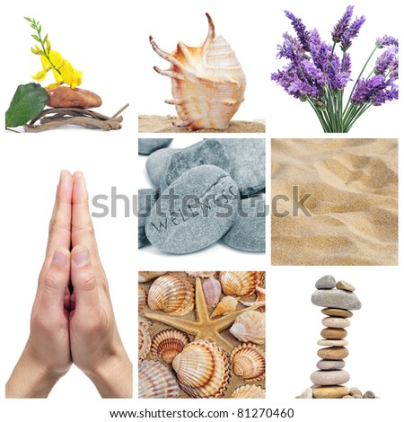 a collage of nine pictures of different images of wellness - stock photo