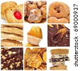 a collage of nine pictures of different kind of biscuits, sweets and pastries - stock photo