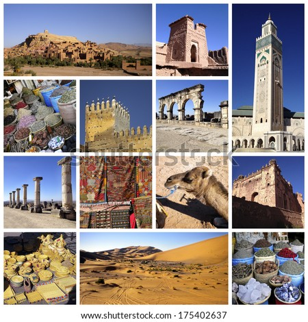 A collage of photo about Marocco and desert - stock photo