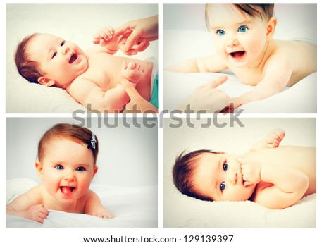 A collage of photos cute little baby - stock photo
