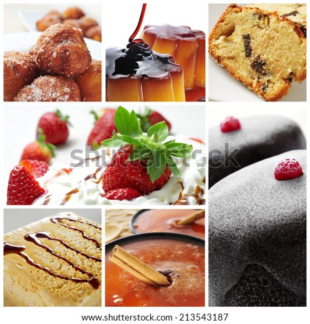 a collage of seven pictures of different international desserts - stock photo