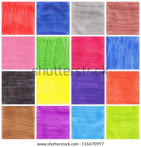 A collage of sixteen colorful background drawing with pencil - stock photo