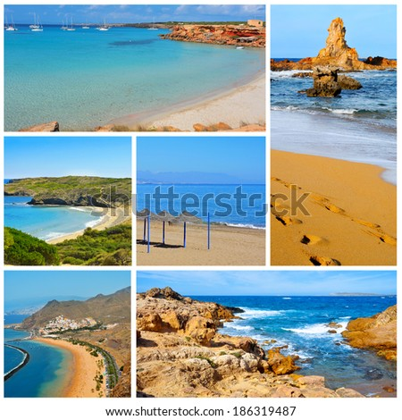a collage of some pictures of different beaches of Spain, such as beaches of Canary Islands and Balearic Islands - stock photo