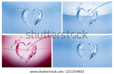 A collage of three blue hearts made of water and a dark pink one on white. - stock photo