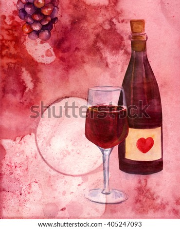 A collage with watercolor drawings of a bottle and a glass of red wine and a bunch of grapes, on an abstract burgundy colored texture with a ring from a wine glass with a place for logo or text - stock photo