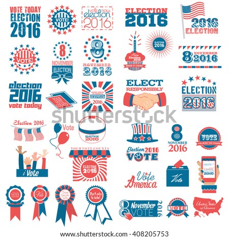 A collection of banners to promote voting in election  - stock photo