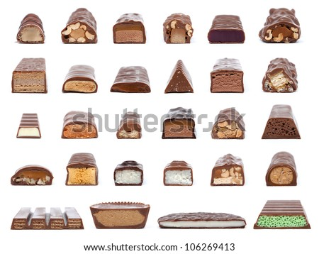 A collection of 28 chocolate bar cross-sections showing what is inside isolated on white. - stock photo