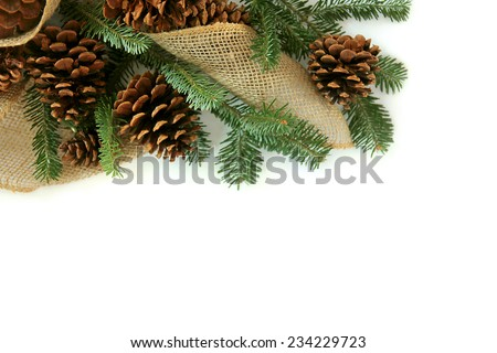 A collection of Christmas tree evergreen branches, natural pine cones, and decorative burlap fabric are isolated and framing the top of a white background - stock photo