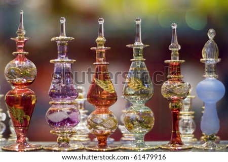 A collection of colorful  Egyptian perfume bottles taken in a bazaar - stock photo
