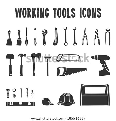 A collection of decorative construction or carpenter tool black  icons set isolated  illustration - stock photo