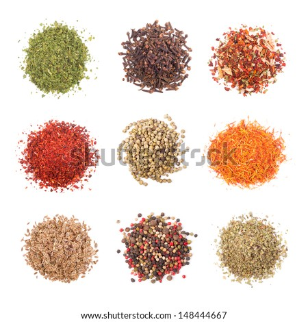 A collection of different spices on white background - stock photo