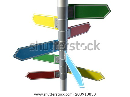 A collection of generic blank directional street signs all facing different directions on a pole on an isolated white background - stock photo