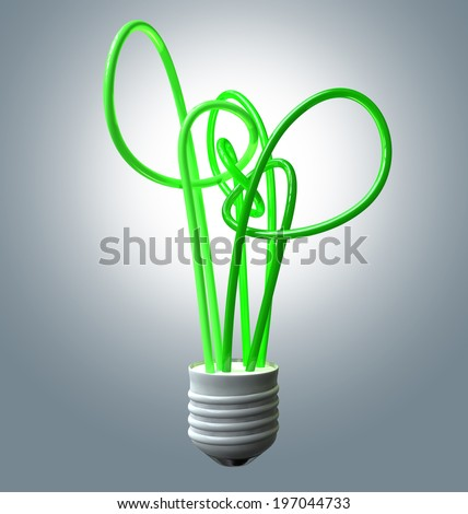 A collection of green fluorescent tubes representing a tree and lightbulb with a threaded base symbolizing green energy on an isolated studio background - stock photo