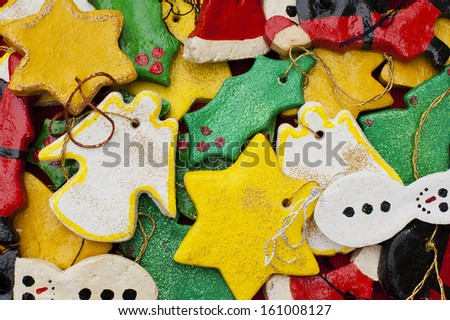 A collection of home made Christmas decorations - stock photo
