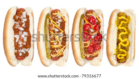 A collection of hotdogs with mustard, ketchup, relish, chili, relish and onions. - stock photo