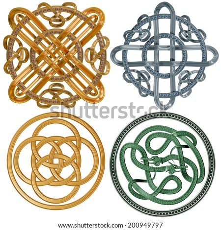 A collection of intricate Celtic Knots based on a circle - stock photo