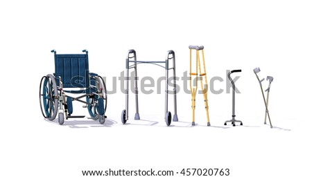 A collection of mobility aids including a wheelchair, walker, crutches, quad cane, and forearm crutches - 3d render. - stock photo