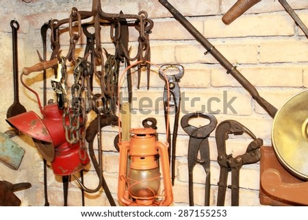 A collection of old  tools used early 1900 - stock photo