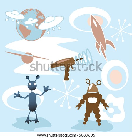 A collection of retro futuristic 50's outer space elements: rocket; blaster; mars attack; robot; more. - stock photo