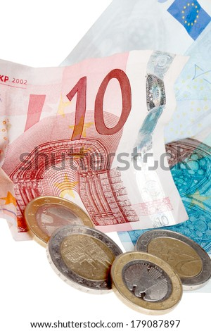 A Collection of some european money consist of paper and coin money. - stock photo