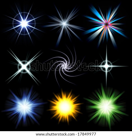 A collection of star bursts and abstract lens flares.  Use these as accents in your designs. Larger versions of each are also available in my portfolio. - stock photo