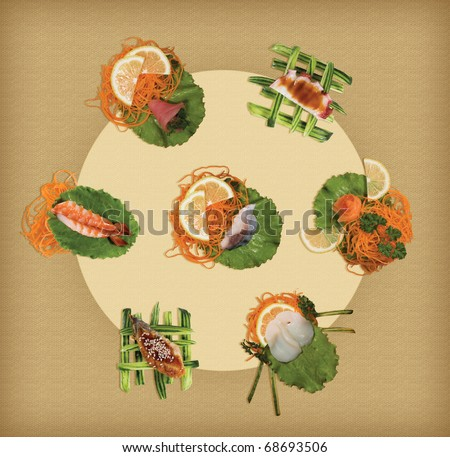 A collection of sushi - stock photo