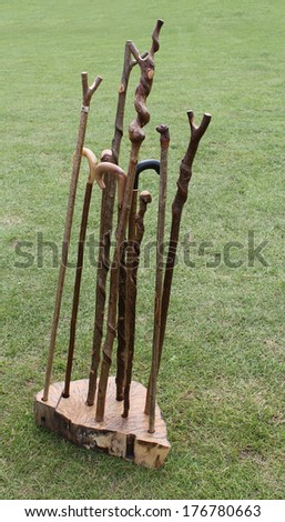 A Collection of Traditional Wooden Walking Sticks. - stock photo