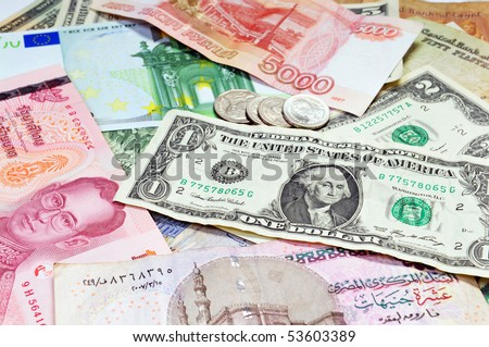 A collection of various currencies - stock photo