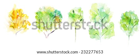 A collection of watercolour trees on white background - stock photo