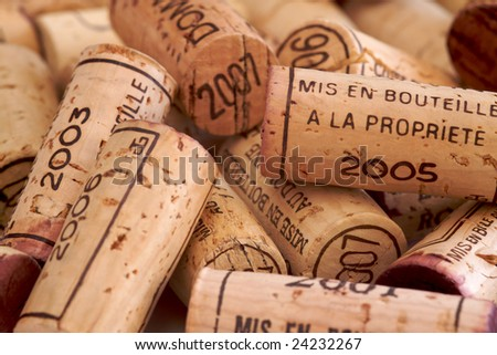 a collection of wine corks - stock photo