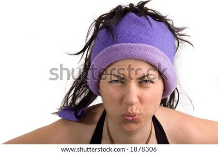 A college girl with a cool hat and a sour face - See more in portfolio - stock photo