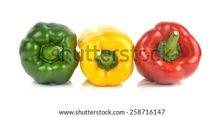 A Colored paprika (pepper) isolated on a white background - stock photo