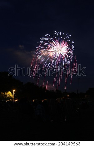 a colorful burst of fireworks - stock photo