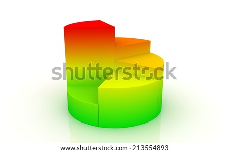 A colorful 3D pie chart graph on white background - stock photo