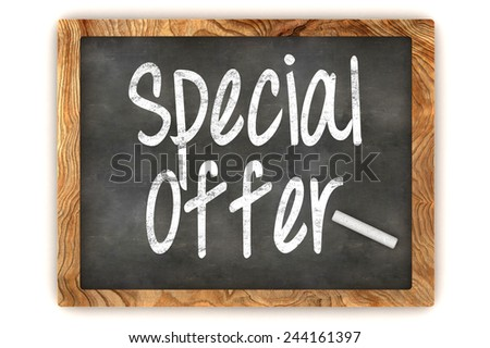 A Colorful 3d Rendered Blackboard Illustration Showing 'Special Offer' - stock photo