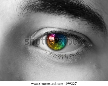 a colorful eye - stock photo