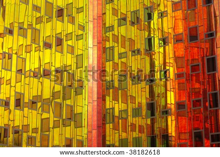 A colorful facade on an office building in Deventer, The Netherlands - stock photo