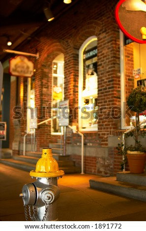 A colorful fire hydrant in front of some local stores. More with keyword Series004