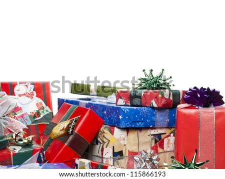 A colorful gift boxes on a white background - stock photo
