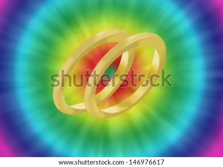a colorful hippie or retro background for a wedding celebration with two wedding rings - stock photo