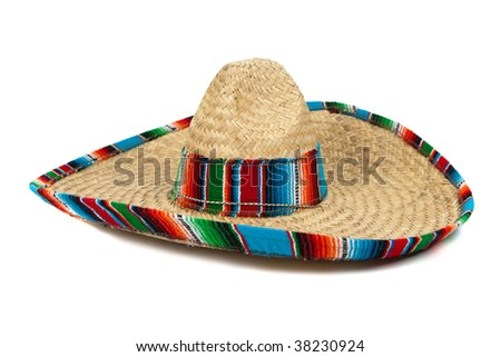 A colorful mexican sombrero on a white background with copy space - stock photo