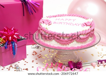 A colorful scene from a girls birthday party. - stock photo