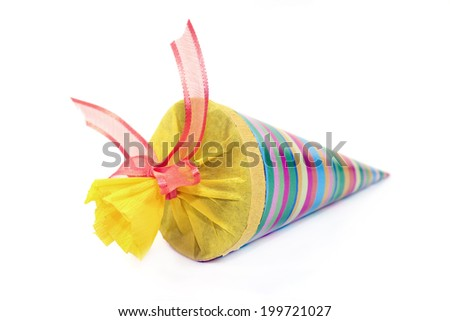 a colorful school cone in front of white background - stock photo
