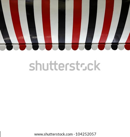 A colorful stripe canopy awning isolated against white. - stock photo